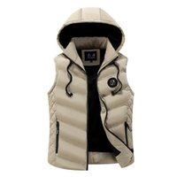 Wholesale sleeveless jacket for male casual for sale - Winter Men Warm Sleeveless Vest Men Cotton Hooded Jacket Male Zipper Waistcoat for Autumn Male Gilet Homme Warm Vest for Men XL Hoodies New