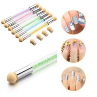 Wholesale glitter nail art pens - High Quality Picking Dotting Gradient Pen Brush 6 Sponge Set Glitter Powder Nail Art Tools 0603112