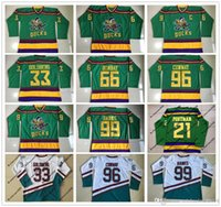 Wholesale Blue Red Movies - 1996-06 Anaheim Mighty Ducks Movie Jersey 33 Greg Goldberg 66 Gordon Bombay 96 Charlie Conway 99 Adam Banks 21 Dean Portman Hockey Jersey