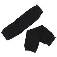 manchettes noires longues achat en gros de-Mesdames hiver manchette extensible sans doigts noir tricoté longs gants paire de manchettes