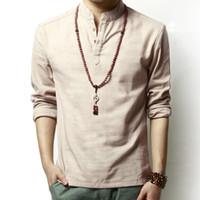 nefes alabilen uzun kollu gömlekler toptan satış-T-shirt Erkek Giyim T-Shirt Erkekler için Standı Yaka Keten Uzun Kollu Nefes Anti-Shrink Düğmesi Rahat Bahar Yaz Boyutu M-3XL