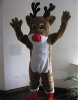 trajes de rena adulta venda por atacado-2018 de alta qualidade EMS frete grátis Rudolph rena mascote traje clássico dos desenhos animados trajes tamanho adulto