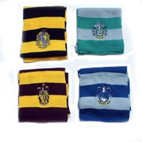 Wholesale Gryffindor Hufflepuff Ravenclaw Slytherin Scarf - Harry Potter School Scarf Gryffindor Ravenclaw Hufflepuff Slytherin Badge Stripes Scarves For Women Men Fan Fashion Shawl Gift 7 5qk Y