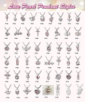 Wholesale necklace pendants dhl - Free DHL Ship 308 styles In stock 18kgp love wish pearl  gem beads locket cages Pendants, DIY Pearl Necklace charm pendants mountings