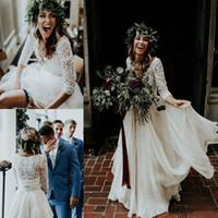 Wholesale bohemian long sleeve chiffon wedding dresses online - Simple and Beautiful Long Sleeve A Line Beach Country Wedding Dresses Two Piece Chiffon Ruffles Lace Top Custom Made Bohemian Bridal Gown