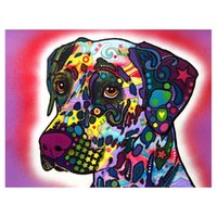 Wholesale Painted Dogs - 5D Diy Diamond Painting Color dog Diamond Painting handworkFull Rhinestones Diamond Painting Embroidery Decor Crafts