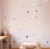 yuvarlak akrilik ayna toptan satış-3D DIY Akrilik Ayna Duvar Sticker Yuvarlak Şekil Etiketler Çıkartması Mozaik Ayna Etkisi Çıkarılabilir Ev Dekor