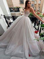 Wholesale elegant sweetheart neckline wedding dress for sale - Group buy 2019 Wedding Dresses A Line Crystal Bead Sweetheart Neckline Tulle Bridal Gowns Elegant Boho Beach Formal Dress for Bride