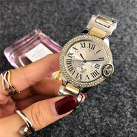 Wholesale geneva metal watch - Top brands Luxury Diamond watches women designer Ladies gold watch Silver bracelet Roman dial Alloy white metal Stainless steel Geneva clock