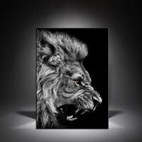 carteles de leones al por mayor-1 Unids Negro Blanco Cabeza de León Pinturas en Lienzo Arte de la Pared Posters Modern Home Decor Pictures For Living Room Sin Marco