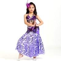kinder bauchtanz tragen großhandel-Bellydance Kostüm Kids Professional Oriental Dance Kostüme Bauchtanz Girl Dancing Wear 3-teilig Perlen BH Gürtel