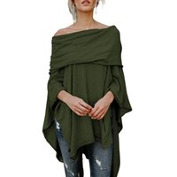 Wholesale women shawl shirt resale online - Off Shoulder Shawl Blouse Solid Casual Loose Slash Neck Irregular Loose Women Autumn Swing Batwing Sleeve Blouses Shirts