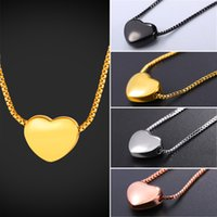 Wholesale gold necklace small - U7 Tiny Heart Necklace Gold Rose Gold Black Silver Color& Box Chain Delicate Small Heart Charm Necklace Gift For Her GP2775