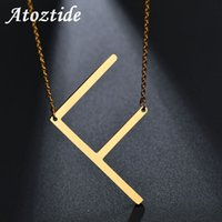 f алфавит оптовых-Atoztide Customize Name Women Alphabet F Initial Necklace Stainless Steel Gold Chain Pendant Capital A Letter Necklace Ketting