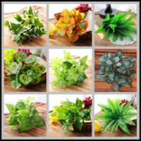 Wholesale Wholesale Decorative Leaves - 5~7 Fork 14 Styles Artificial Plants Vivid Fake Plastic Leaves Home Decor Party Decorative for Flower Wall