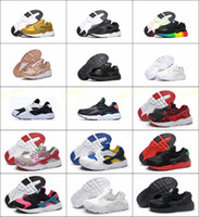Wholesale leather shoes children online - New Air Huarache s Running Shoes Children Athletic Shoes Kids Huaraches Sports Shoes Baby Boys Girls Trainers Sneaker Black White Re