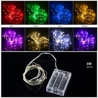 Wholesale thin copper wire resale online - LED String lights M LED Copper Wire Fairy light Christmas Wedding Party Decoration Powered by CR2032 Battery led Strip lamp