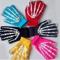 guantes esqueleto de pantalla táctil al por mayor-Skeleton Touch Screen Gloves Halloween Smart Phone Tablet Guantes de pantalla táctil Winter Mitones Warm Full Finger Skull Gloves