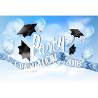 gorras de graduación para niños al por mayor-2018 Graduation Party Photo Booth Fondo Impreso Blue Sky Balloons Bachelor Caps Niños Niños Photography Studio Telones de fondo