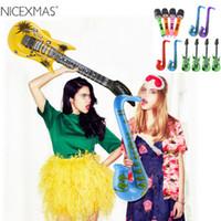 şişme gitarlar toptan satış-Şişme Aracı Şişme Gitar Saksafon Mikrofon Müzik Çocuk Oyuncakları Balonlar Parçası Dekorasyon (Rastgele Renk)
