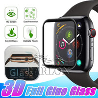 Wholesale iwatch box resale online - 3D Curved Edge Full Glue Tempered Glass For Apple Watch iWatch mm mm mm mm Full Cover Screen Protector With Retail Box