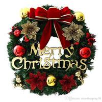 joyeux anneaux achat en gros de-CHAUD Décorations De Noël Pour La Maison Porte Fenêtre En Rotin Anneau Guirlande De Noël De Luxe Merry Christmas Party Graland