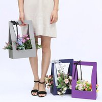 Wholesale Wrapping Paper Storage - Fashiom Paper Flower Wrapping Basket Creative Foldable Hand Held Gift Box Portable Storage Baskets New Arrival 3zg B