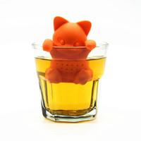 Wholesale Kit tea infuser Tea strainer silicone cartoon animal cat shape Food safe tea tools factory dicect sale
