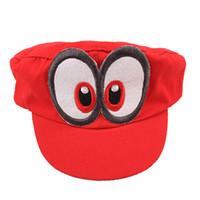 супер марио бейсболки оптовых-Супер Марио шляпа Красная Одиссея 2017New Марио крышка носимых бейсболки унисекс регулируемый хлопок костюм Хэллоуин оборудование