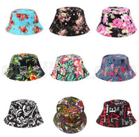 0d1151fe6ca25 Women Bucket Hat Flower Print Cap Summer Colorful Flat Hat Fishing Boonie  Bush Cap Outdoor Sunhat KKA5510