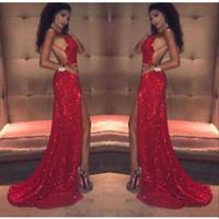 fc231ce5516 Sexy Red Pailletten Prom Kleider Lange 2018 Oberschenkel Hohe Schlitze  Spaghetti-Trägern Backless Arabisch Schwarz Mädchen Meerjungfrau Celebrity  ...