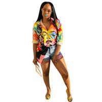 bandaj dolu toptan satış-2018 Sonbahar Kış Kadın Gömlek Elbiseler Tam Kollu Baskı Moda Rahat Seksi Bodycon Bandaj Gece Midi Elbise