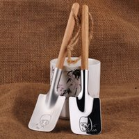 Wholesale Wedding Ice Cream Spoon - Novelty Shovel Shape Spoon With Wooden Handle Stainless Steel Ice Cream Spoons For Wedding Valentines Day Gift Scoop Creative 10zr B