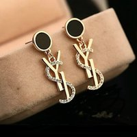 Wholesale Designer Accessories - Luxury Brand Designer Stud Earrings Letters Ear Stud Earring Gold Silver Jewelry Accessories Gift for Women Girls Free Shipping