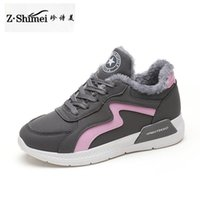 Wholesale low price ankle boots - Low Price hot Women Boots Snow Warm Winter Sneakers PU Boots Botas Lace Up Mujer Fur Ankle Boots Ladies Winter Shoes Black Gray