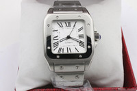 стальные часы оптовых-2019 hot slae Мужчины двухцветные часы из нержавеющей стали Автоматические механические часы Silver Case мужские спортивные стальные застежка мужские наручные часы