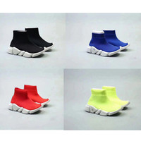 Wholesale High Top Sneakers Girls - Free Shipping Kids Luxury Paris Speed Trainer Boys And Girls Fashion Stretch Mesh High Top Sneaker Knit Sock Running Shoes