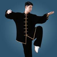 kadife sanat toptan satış-Erkekler Kadınlar Yoga Seti Kalınlığı Kadife Yoga Suit Kazak + pantolon Unisex Tai Chi Kung Fu Dövüş sanatları Seti Giyim için Erkek Kadın