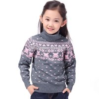 Wholesale Girls Turtle Neck - New 2016 Children's Sweater Spring Autumn Girls Cardigan Kids Turtle Neck Sweaters Girl's Fashionable Style outerwear pullovers