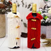 ingrosso coperte di bottiglie di vino a maglia-Novità maglia maglione bottiglia di vino copertura carino bottiglie morbide cappotto per feste di natale decorazioni forniture fabbrica diretta 6 5df BB