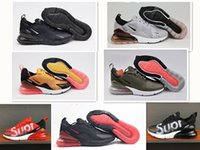 Wholesale Mens Soles - 2018 Wholesale high quality Mens Air Flair Triple Black 270 AH8050 Trainer Sports Running Shoes Womens air sole 270 Sneakers