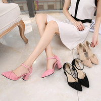 Wholesale Heels Pendant - 3pcs summer new ladies' Velvet tip small, fresh, coarse and hollow pendant, buckle high-quality small code 31, 32, 33 high heeled sandals.