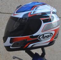 xxl motosiklet kaskları toptan satış-Ücretsiz kargo motosiklet kask tam yüz kask ARAI ECE mavi