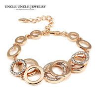 Wholesale multiple chain bracelet - Multiple Circles Design Woman Bracelets Rose Gold Color Rhinestones Round Element Double Layer Lady Bracelet Wholesale Gift