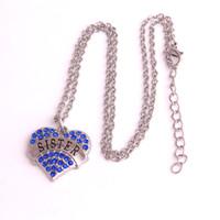 schlange geformte halskette kette großhandel-Meistverkauftes rhodiniertes Zink mit funkelnden Kristallen SISTER Heart Shape Pendant Necklace Link Snake Chain