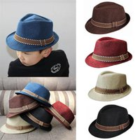 3a7f1c08793d8d Kids Fedora Hats Boy Girl Unisex Cap for Children Contrast Trim Cool Jazz  Chapeu Feminino Trilby Sombreros