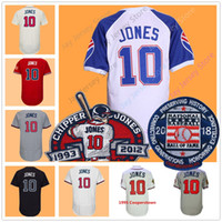 Wholesale red base - Chipper Jones Jersey with 2018 Hall OF Fame & Retirement Patch Pullover Men Women Youth 1995 Stitched Cool Base Red White Cream Dark Blue