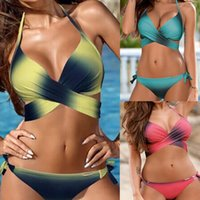 xxl sexy 15 al por mayor-2018 Nuevo traje de baño de color degradado sexy para mujer Bikini Set Vendaje Push-Up Traje de baño acolchado Ropa de playa trajes de baño biquini S-XXL 15