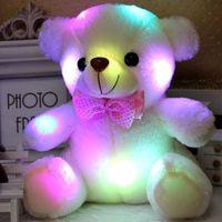 ingrosso animali di roba natalizia-Giocattolo farcito di peluche farcito bambola di orso di luce colorata LED giocattoli animali di peluche taglia 20cm - 22cm regalo per i bambini