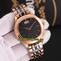 Wholesale butterfly mens tie for sale - Group buy Luxury New BLACK TIE G0A32016 Rose Gold Date Case Automatic Double sided Sapphire mirror Mens Watch L Steel Strap Gents Watches